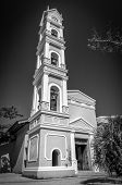 stock photo of playa del carmen  - Beautiful old Spanish chapel and bell tower near Playa del Carmen Mexico - JPG
