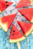 pic of popsicle  - watermelon popsicle yummy fresh summer fruit sweet dessert on vintage old wood teak blue - JPG