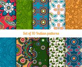 stock photo of hippy  - Paisley and flower raditional asian or indian seamless vector patterns - JPG