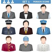 stock photo of postman  - Nine person icons including officer - JPG