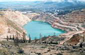 stock photo of open-pit mine  - Open pit mine in Balaklava near Sevastopol city - JPG