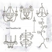 picture of chandelier  - Iron chandeliers set  - JPG