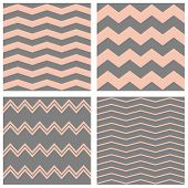 foto of pastel  - Tile vector pastel pattern set with grey and pink zig zag background for seamless decoration wallpaper - JPG