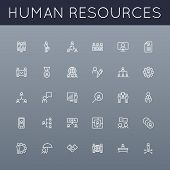 picture of line graph  - Thirty human resources line icons isolated on background and grouped for easy editing - JPG