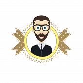 picture of geek  - geek male cartoon theme vector art illustration - JPG