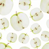 foto of household farm  - Watercolor seamless pattern with green sliced apples - JPG