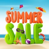 image of kites  - 3D Rendered Summer Sale Text Title for Promotion in Beach Sea Shore with Flying Kites - JPG