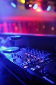 picture of mixer  - DJ mixer with light colored spotlights discos - JPG