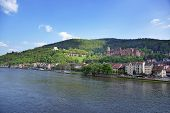 picture of barge  - Quay and barges in the river and quay of european city in summer Heidelberg - JPG