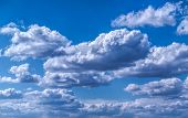 stock photo of cumulus-clouds  - The rays of the Sun - JPG