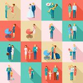 foto of married couple  - Family flat icons set with married couples parents and children isolated vector illustration - JPG