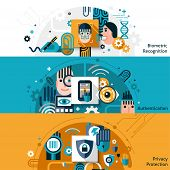 picture of dna fingerprinting  - Biometric authentication horizontal banner set with privacy protection and recognition elements isolated vector illustration - JPG