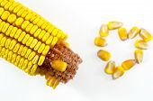 Постер, плакат: Corn Cob And A Corn Heart Isolated