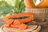 stock photo of pawpaw  - Papaya fruit sliced  - JPG