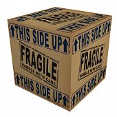 picture of fragile  - 3D Cardboard box with fragile and this side up text and icons - JPG