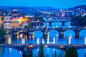 stock photo of nightfall  - Travel Prague concept background  - JPG