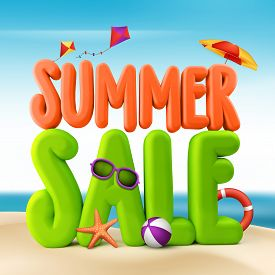 picture of starfish  - 3D Rendered Summer Sale Text Title for Promotion in Beach Sea Shore with Flying Kites - JPG
