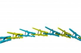 pic of pegging  - Plastic laundry pegs made to form a bridge - JPG