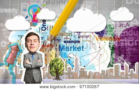 Young businessman with closed eyes at composite business background