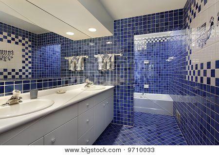 Bathroom With Blue Tile