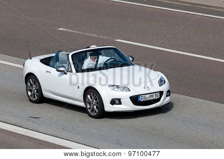Mazda Mx-5 Roadster On The Road