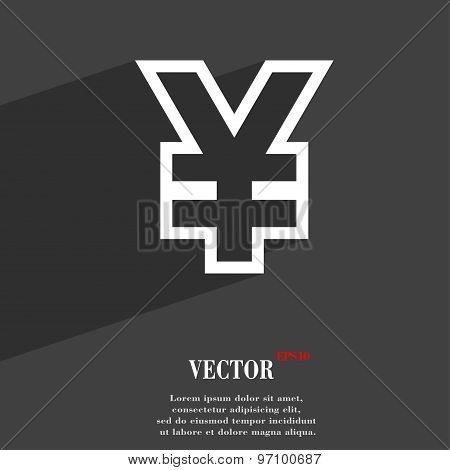 Yen Jpy Icon Symbol Flat Modern Web Design With Long Shadow And Space For Your Text. Vector