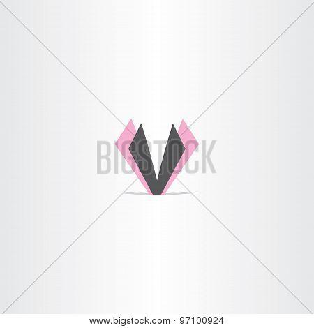 Letter V Magenta Black Logo Design