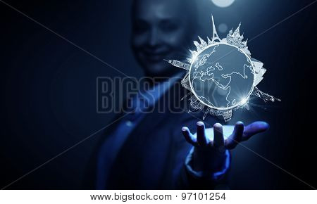 Businesswoman hand showing visiting different countries concept