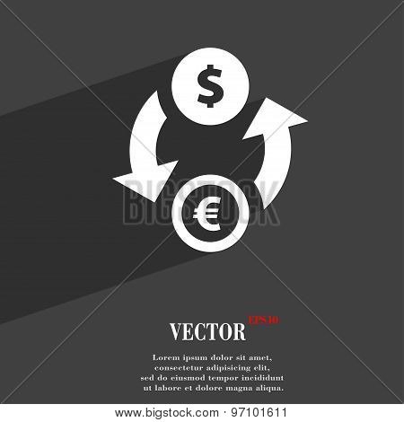 Currency Exchange Icon Symbol Flat Modern Web Design With Long Shadow And Space For Your Text. Vecto