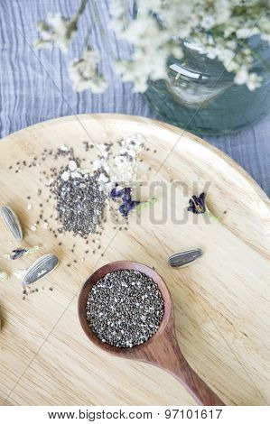 Chia Seed In Spoon Put On Tray
