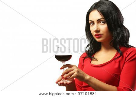 Pretty young woman with wineglass isolated on white