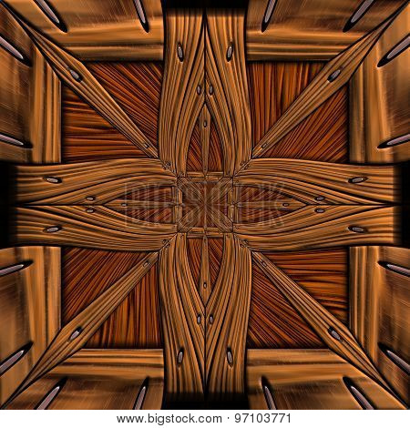 Seamless tile with embossed pattern on wood