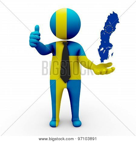 3d businessman people Sweden- with a map of the flag of EC-Sweden