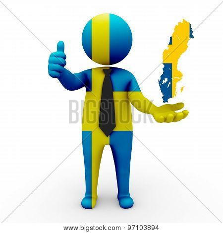 3d businessman people Sweden - with a map of the flag of Sweden