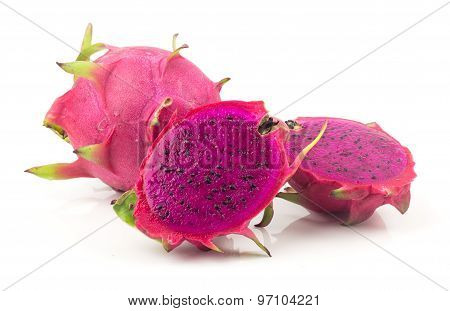 Red Dragon Fruit On White