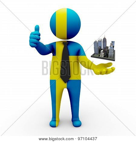 3d businessman people Sweden - Megalopolis and cities