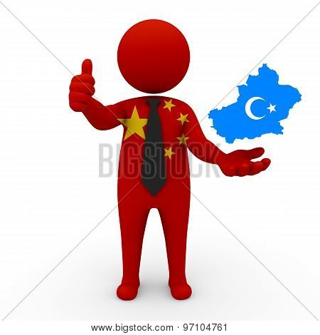 3d businessman people China - with a map of the flag of Uygurstan