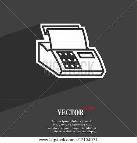Cash Register Machine Icon Symbol Flat Modern Web Design With Long Shadow And Space For Your Text. V