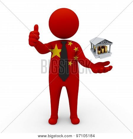3d businessman people China- Banking and Finance