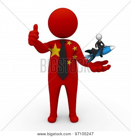 3d businessman people China  - with a missile in the hands and grow your business