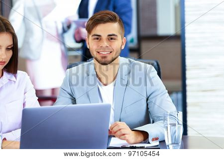 Businessman working in conference room