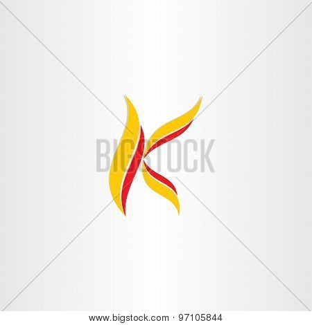 Yellow Red Icon Letter K Logo