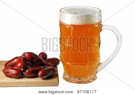 Glass Of Beer With Bavarian Sausages