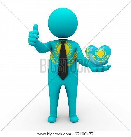3d businessman people Kazakhstan -in the hands of the heart with the flag of Kazakhstan