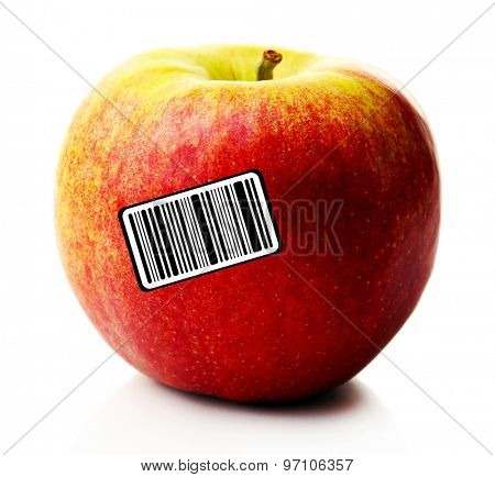 Ripe apple with barcode isolated on white