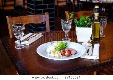Juicy Grilled Steak Medium Rare Beef
