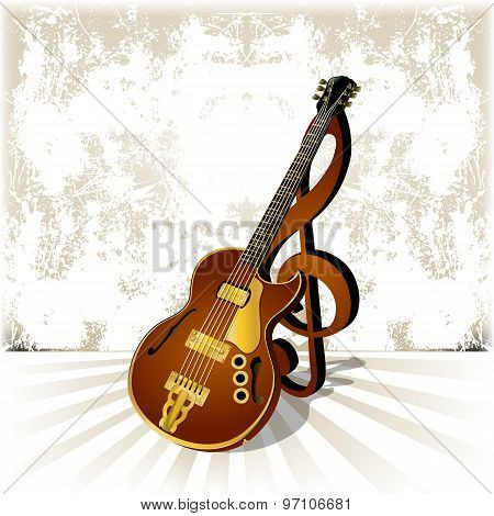 Jazz Guitar With A Treble Clef And Shadow On Grunge Background