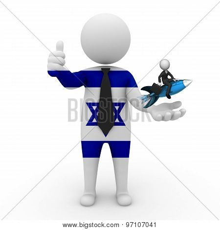 3d businessman people Israel  - with a missile in the hands and grow your business