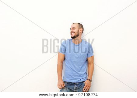 Young Man With Blue Shirt Laughing