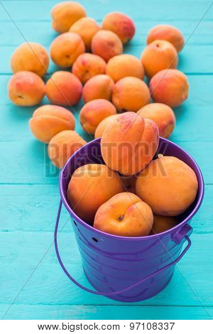 Ripe Apricots In A Lilac Iron Pail
